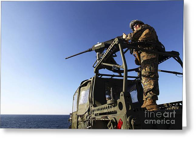Copy Machine Greeting Cards - A Machine Gunner Mounts A M-2 Greeting Card by Stocktrek Images