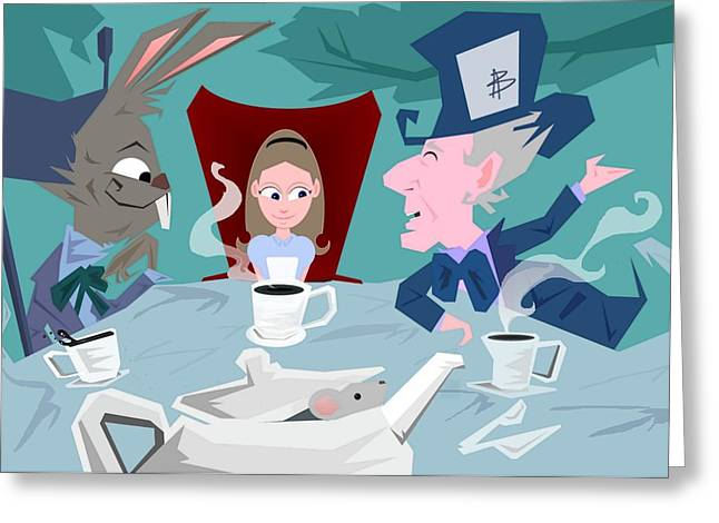 March Hare Greeting Cards - A mad tea party Greeting Card by Bryan  Rhoads