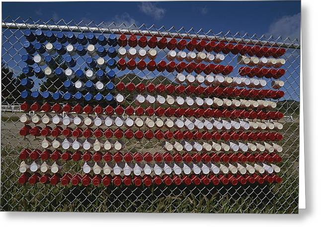 American National Flag Greeting Cards - A Makeshift American Flag Of Plastic Greeting Card by Stephen St. John