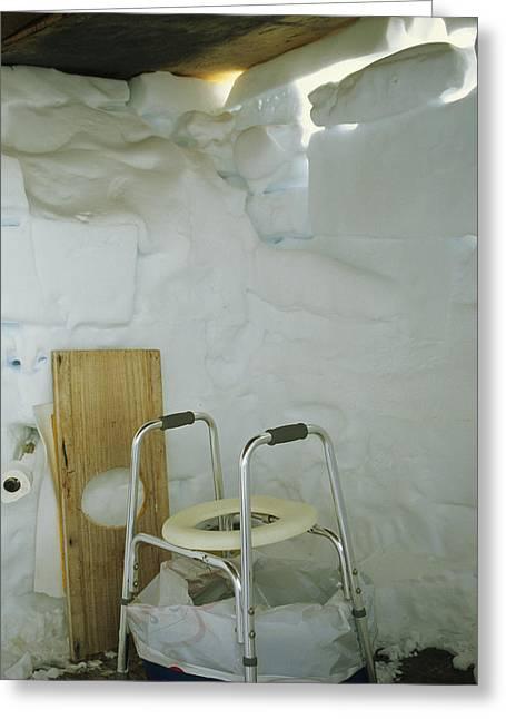 A Makeshift Bathroom Is Set Greeting Card by Gordon Wiltsie