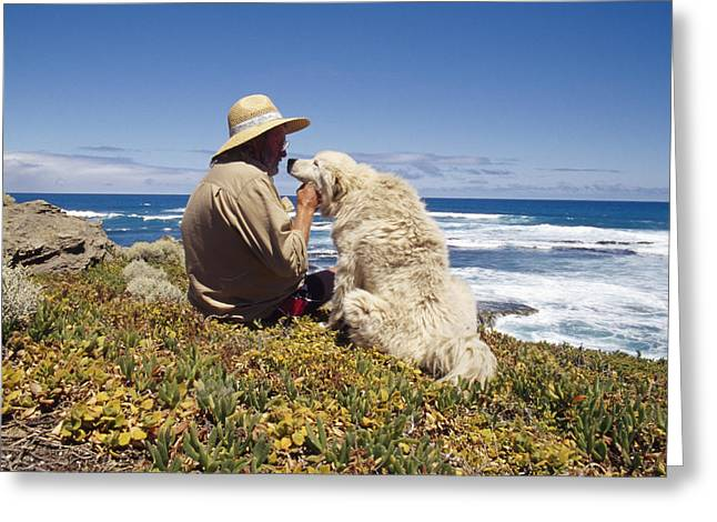 Human Actions And Reactions Greeting Cards - A Man And His Italian Sheep Dog Sit Greeting Card by Jason Edwards