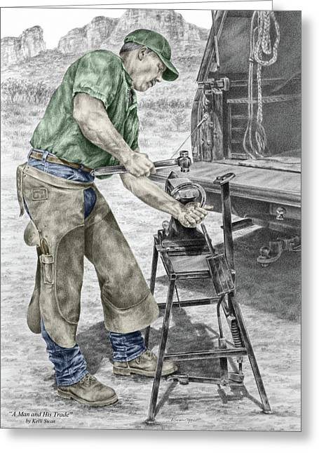 Farrier Greeting Cards - A Man and His Trade - Farrier Art Print color tinted Greeting Card by Kelli Swan