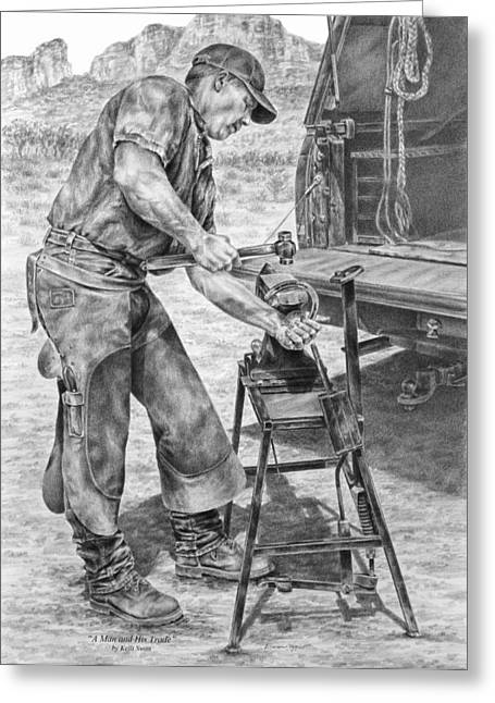 Farrier Greeting Cards - A Man and His Trade - Farrier Art Print Greeting Card by Kelli Swan