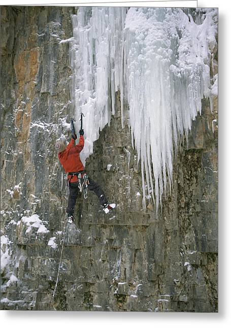 Model Colorado Greeting Cards - A Man Climbs A Cascade Of Ice Greeting Card by John Burcham
