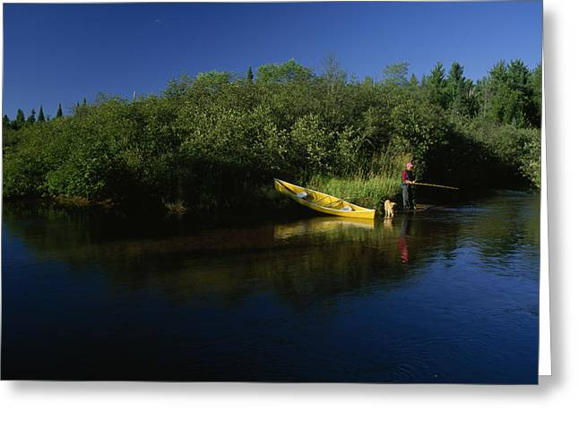 Fox River Greeting Cards - A Man Fishes In The Fox River Greeting Card by Phil Schermeister