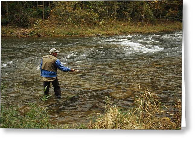 Monongahela National Forest Greeting Cards - A Man Fly-fishing In A Swift Moving Greeting Card by Raymond Gehman