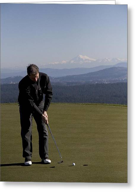 Baker Island Greeting Cards - A Man Golfs On A Beautiful Course Greeting Card by Taylor S. Kennedy