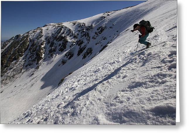 Endurance Sports Greeting Cards - A Man Hikes Up Tuckermans Ravine Greeting Card by Tim Laman