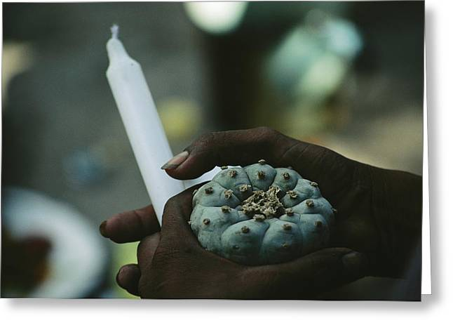 North American Indian Ethnicity Greeting Cards - A Man Holds A Candle And A Peyote Greeting Card by Maria Stenzel