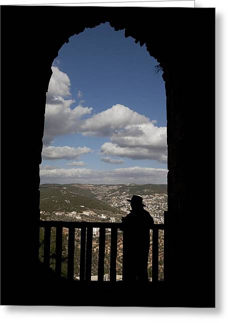 Jordan Hill Greeting Cards - A Man Looks Out Of Ajloun Castle Greeting Card by Taylor S. Kennedy