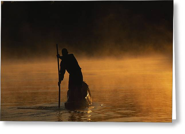 Native African Ethnicity Greeting Cards - A Man Poling A Dugout Canoe Greeting Card by Chris Johns
