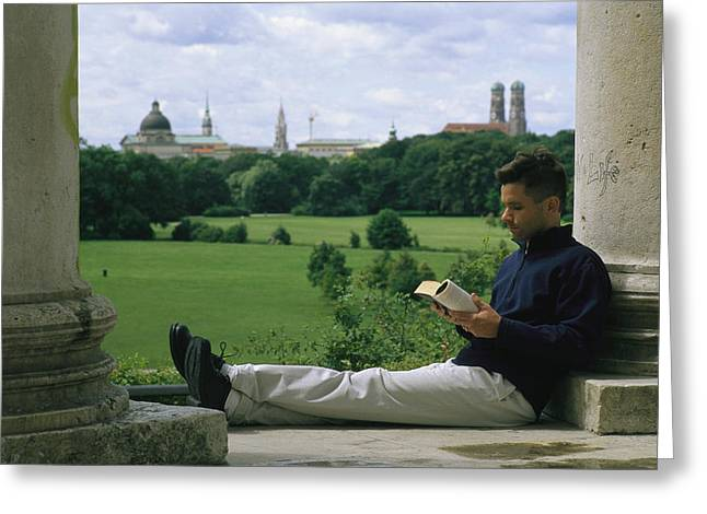 Frauenkirche Greeting Cards - A man reads in the Greeting Card by Taylor S. Kennedy