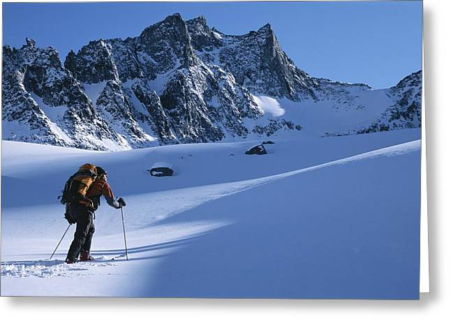 Standing Out From The Crowd Greeting Cards - A Man Skiing In The Selkirk Mountains Greeting Card by Jimmy Chin