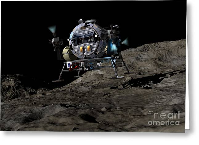 Approach Digital Art Greeting Cards - A Manned Asteroid Lander Prepares Greeting Card by Walter Myers