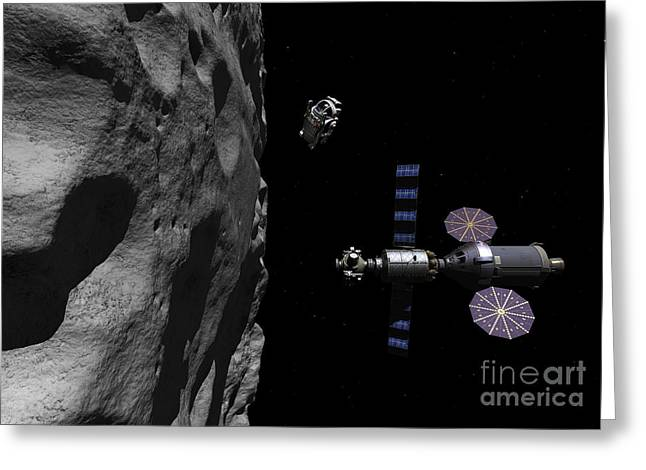 Destiny Greeting Cards - A Manned Maneuvering Vehicle Descends Greeting Card by Walter Myers
