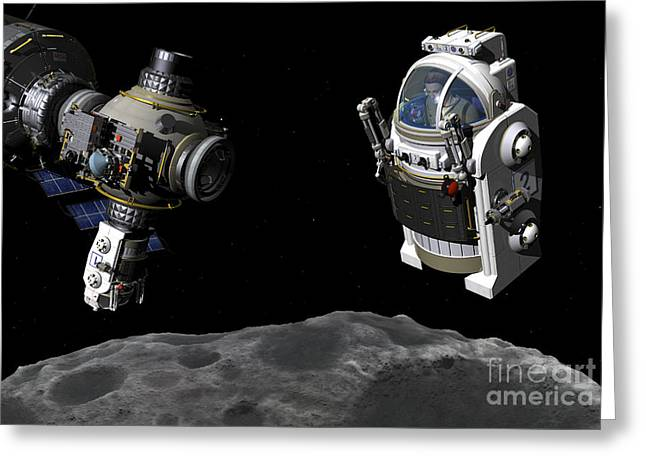Destiny Greeting Cards - A Manned Maneuvering Vehicle Prepares Greeting Card by Walter Myers
