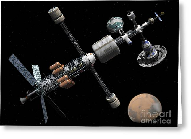 Space Probes Greeting Cards - A Manned Mars Cycler Space Station Greeting Card by Walter Myers