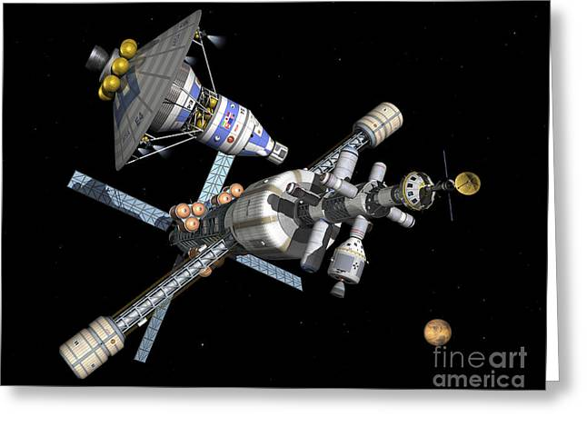 Space Probes Greeting Cards - A Manned Mars Landerreturn Vehicle Greeting Card by Walter Myers