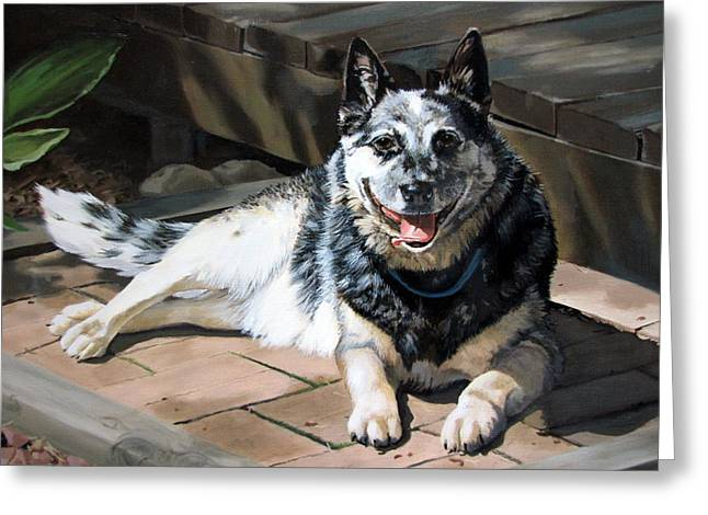 Sandra Chase Paintings Greeting Cards - A Mans Best Friend Greeting Card by Sandra Chase