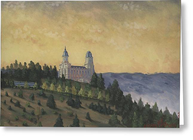 Lds Temples Greeting Cards - A Manti  Morning Greeting Card by Jeff Brimley