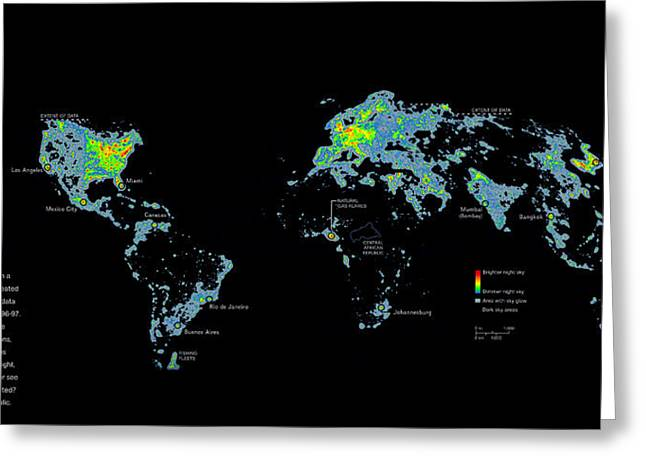 Geographical Locations Greeting Cards - A Map Of Nighttime Earth Created Greeting Card by Sean Mcnaughton