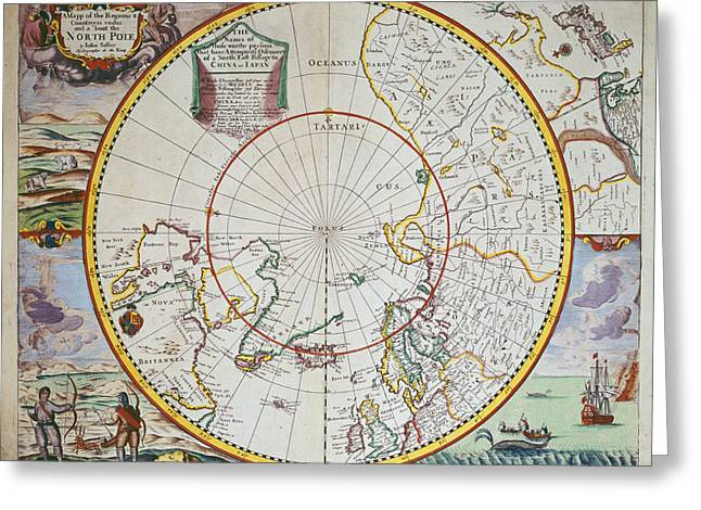 A Map of the North Pole Greeting Card by John Seller