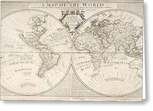 Map Paintings Greeting Cards - A Map of the World Greeting Card by John Senex