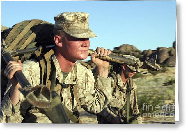 .50 Caliber Greeting Cards - A Marine Carries A 44-pound M2 .50 Greeting Card by Stocktrek Images