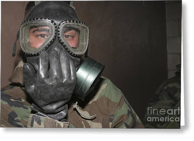 Cs Greeting Cards - A Marine Clears His Gas Mask Greeting Card by Stocktrek Images