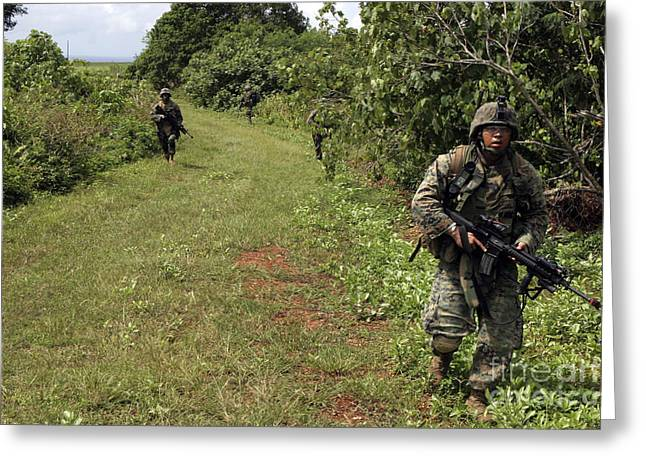 Jungle Warfare Greeting Cards - A Marine Leads The Way On A Patrol Greeting Card by Stocktrek Images