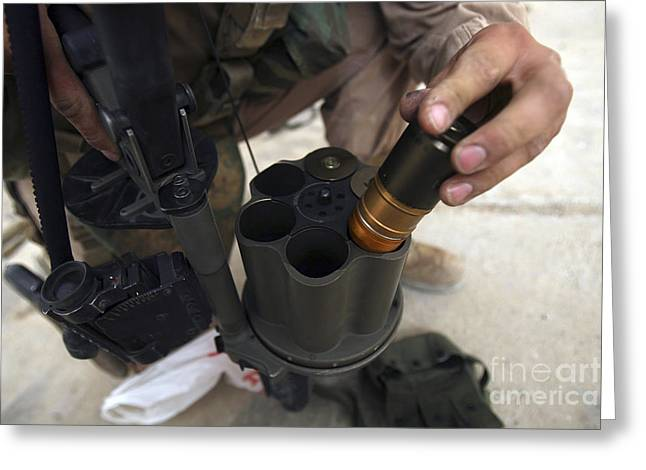40mm Greeting Cards - A Marine Loads 40 Mm Grenades Greeting Card by Stocktrek Images