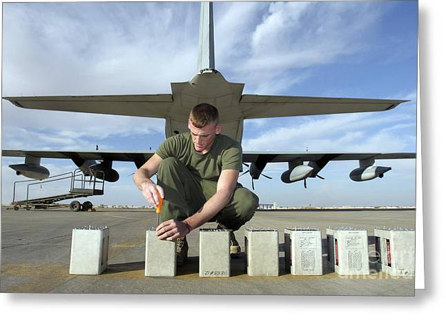 A Marine Replaces Flares In Flare Greeting Card by Stocktrek Images