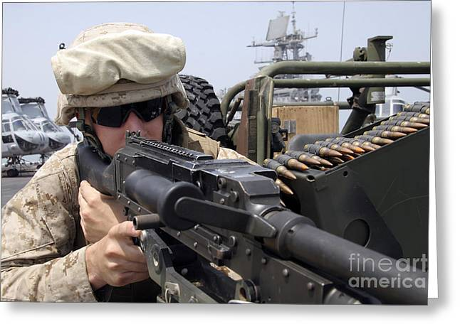 7.62mm Greeting Cards - A Marine Scans The Horizon Greeting Card by Stocktrek Images