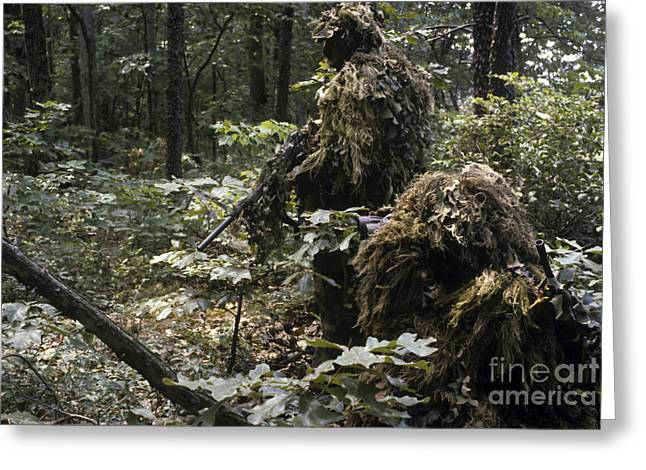 Sharpshooter Greeting Cards - A Marine Sniper Team Wearing Camouflage Greeting Card by Stocktrek Images