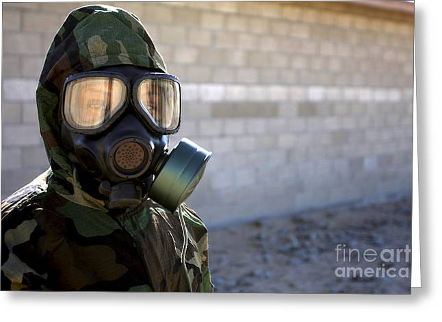 -wars And Warfare- Greeting Cards - A Marine Wearing A Gas Mask Greeting Card by Stocktrek Images