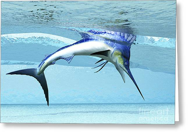 Swordfish Greeting Cards - A Marlin Dives In Shallow Waves Looking Greeting Card by Corey Ford