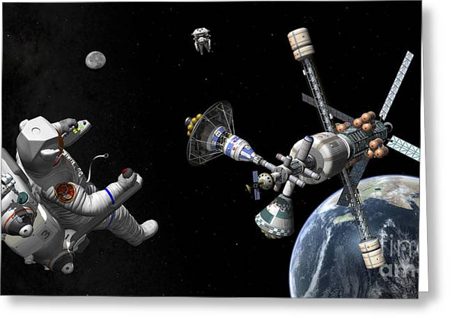 Adults Only Digital Art Greeting Cards - A Mars Cycler Travels By The Earth Greeting Card by Walter Myers