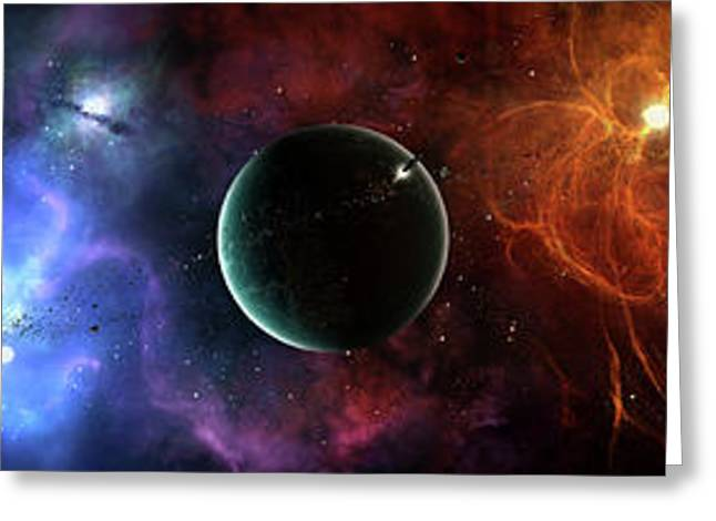 Intergalactic Greeting Cards - A Massive And Crowded Universe Greeting Card by Brian Christensen