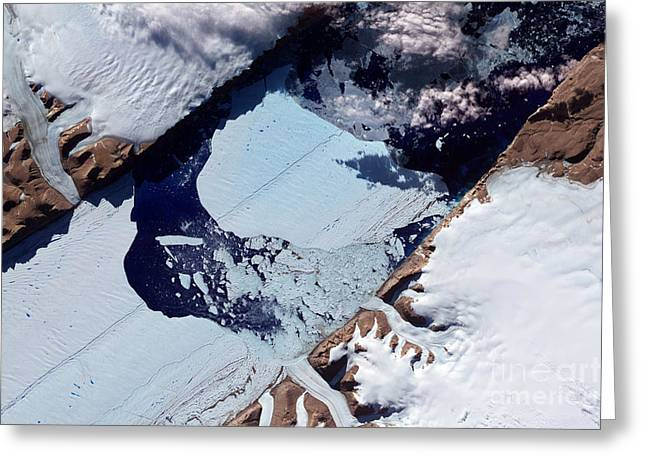 Floating Ice Sheet Greeting Cards - A Massive Ice Island Breaks Free Greeting Card by Stocktrek Images