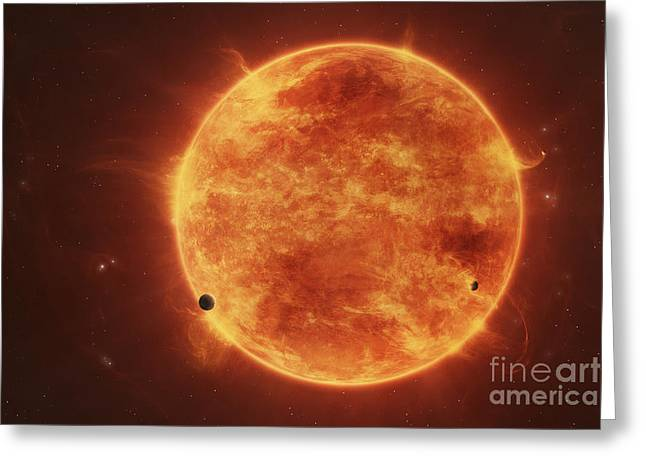 Engulfing Greeting Cards - A Massive Red Dwarf Consuming Planets Greeting Card by Tomasz Dabrowski