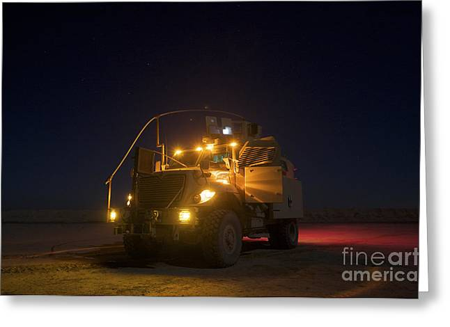 Cob Speicher Greeting Cards - A Maxxpro Mrap Vehicle With Running Greeting Card by Terry Moore