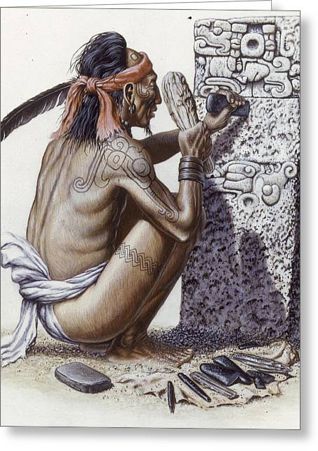 Sculpture Indians Photographs Greeting Cards - A Maya Artisan Readies A Limestone Greeting Card by Terry W. Rutledge