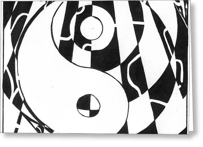 Ying Mixed Media Greeting Cards - A Maze Zen  Greeting Card by Yonatan Frimer Maze Artist