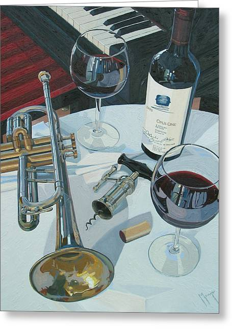 Red Wine Bottle Greeting Cards - A Measure of Opus Greeting Card by Christopher Mize