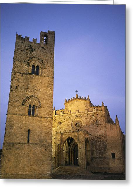 Erice Greeting Cards - A Medieval Church And Campanile Or Bell Greeting Card by Richard Nowitz