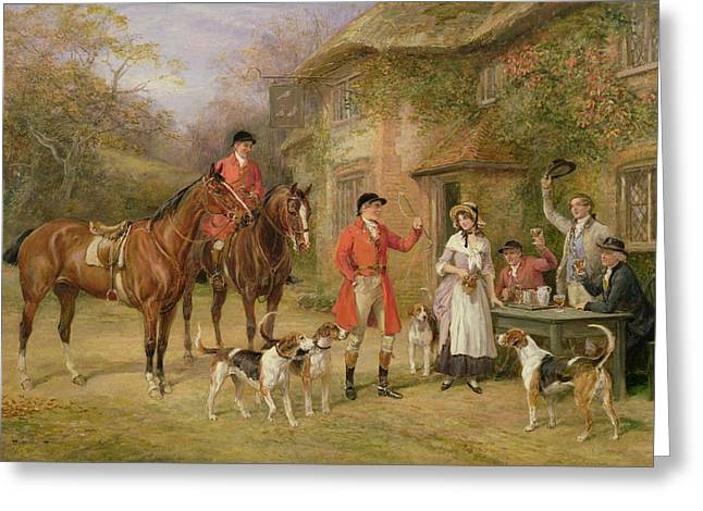 Hound Hounds Greeting Cards - A Meeting at the Three Pigeons Greeting Card by Heywood Hardy