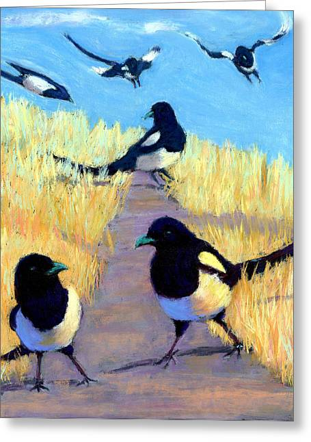 Flying Bird Pastels Greeting Cards - A Meeting Of Parliament Greeting Card by Cheryl Whitehall