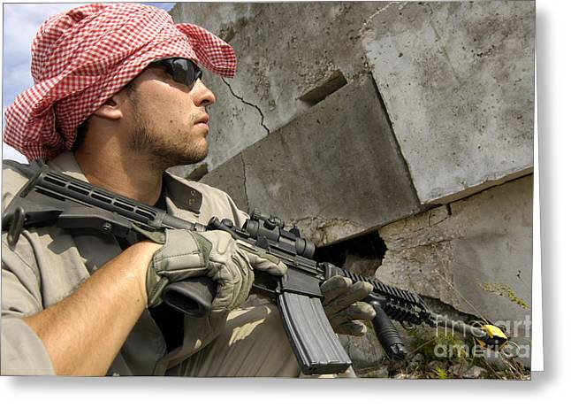 Kerchief Greeting Cards - A Member Of Opposing Forces Engaged Greeting Card by Stocktrek Images