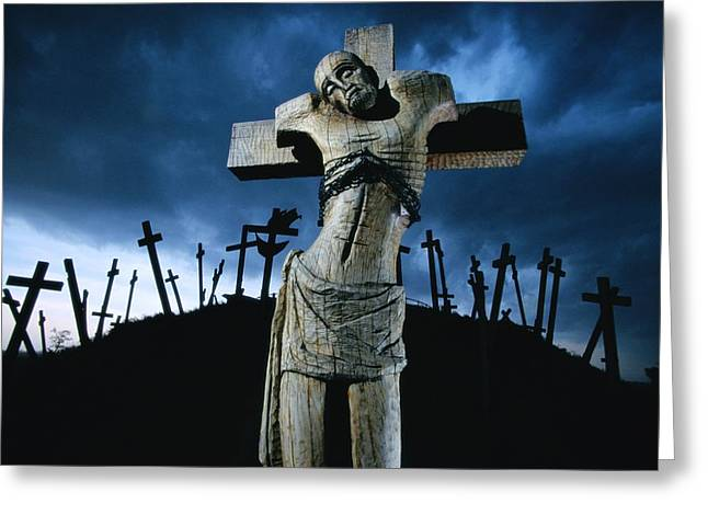 Wood Carving Greeting Cards - A Memorial Near The Town Of Muhi Keeps Greeting Card by James L. Stanfield