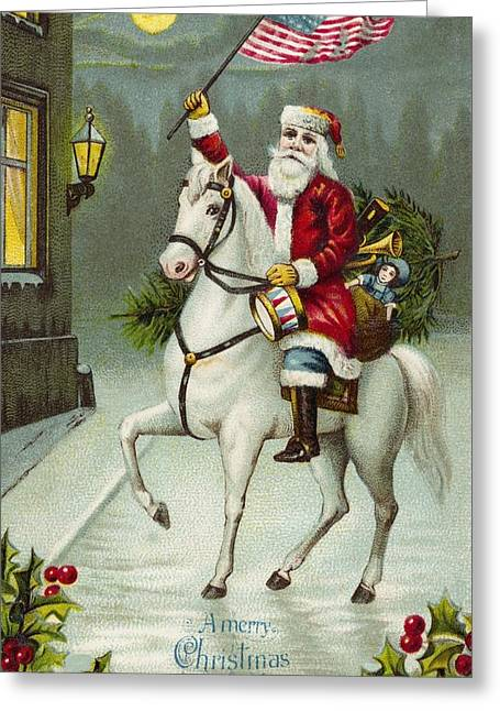 Nicholas Greeting Cards - A Merry Christmas card of Santa Riding a White Horse Greeting Card by American School